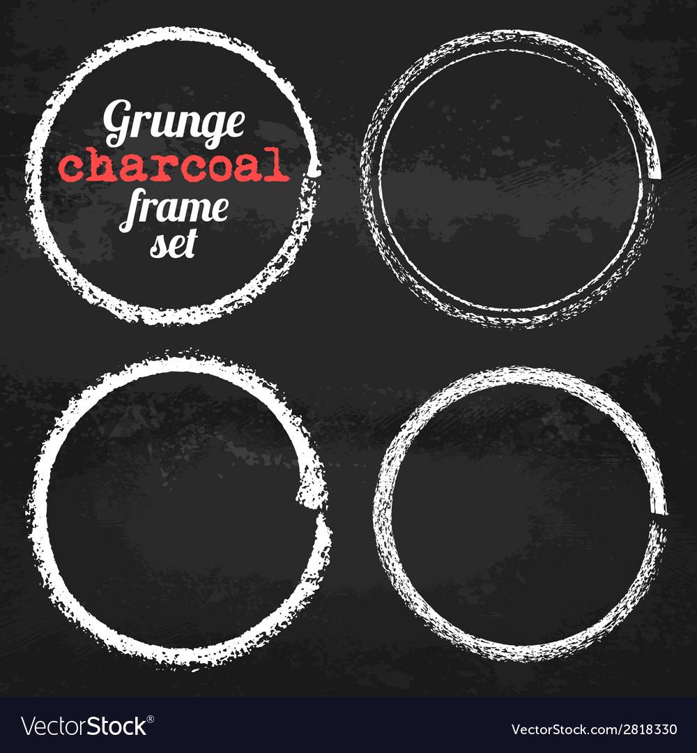 Set of four grunge circle chalk frames vector | Price: 1 Credit (USD $1)