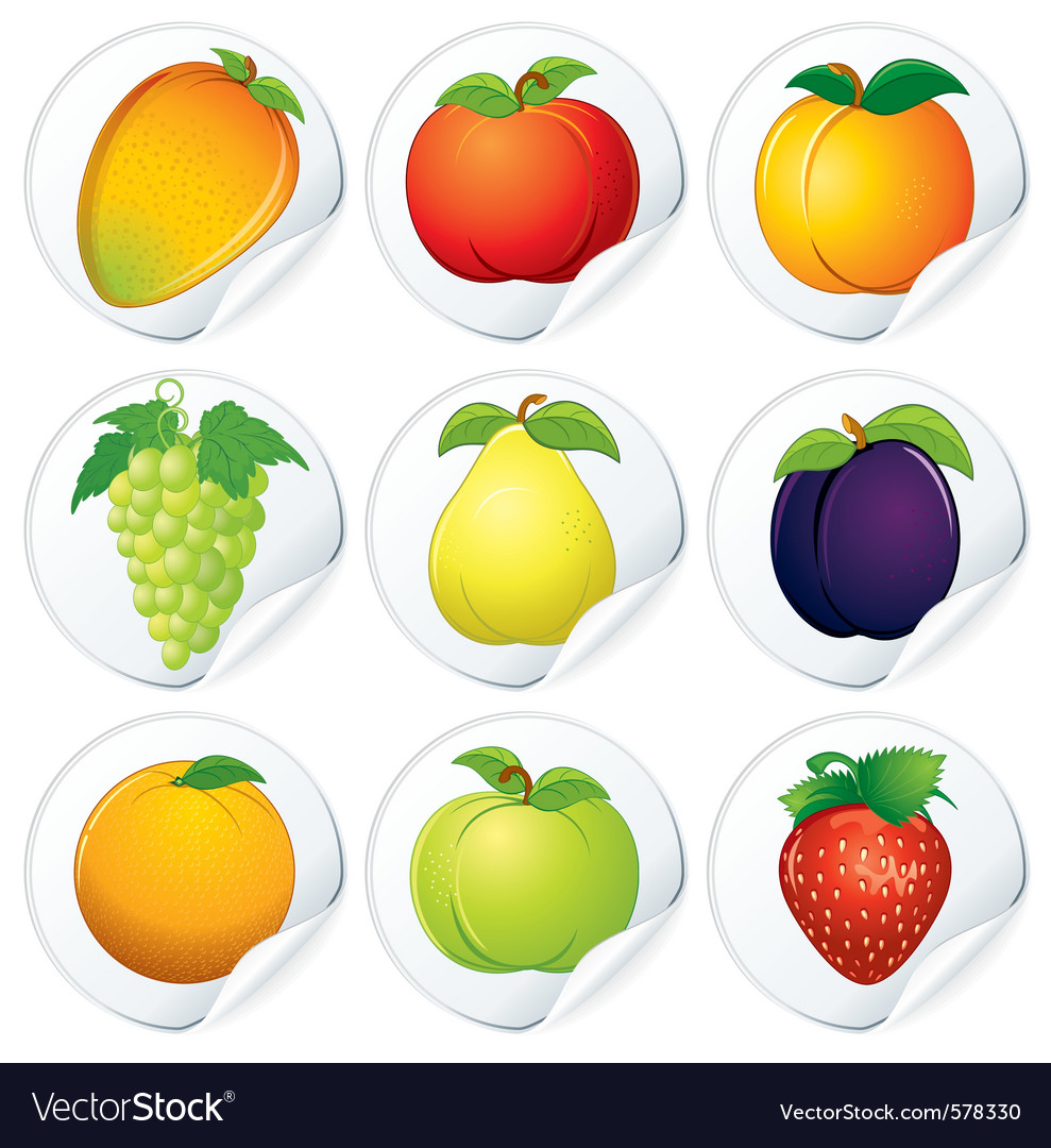 Set of isolated stickers with fresh fruits vector | Price: 1 Credit (USD $1)