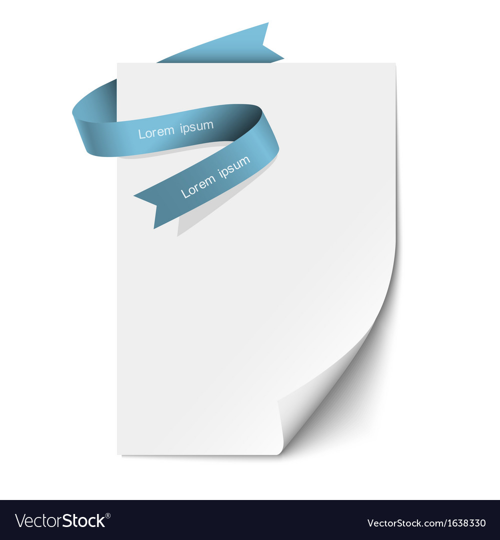 Sheet paper and blue ribbon vector | Price: 1 Credit (USD $1)