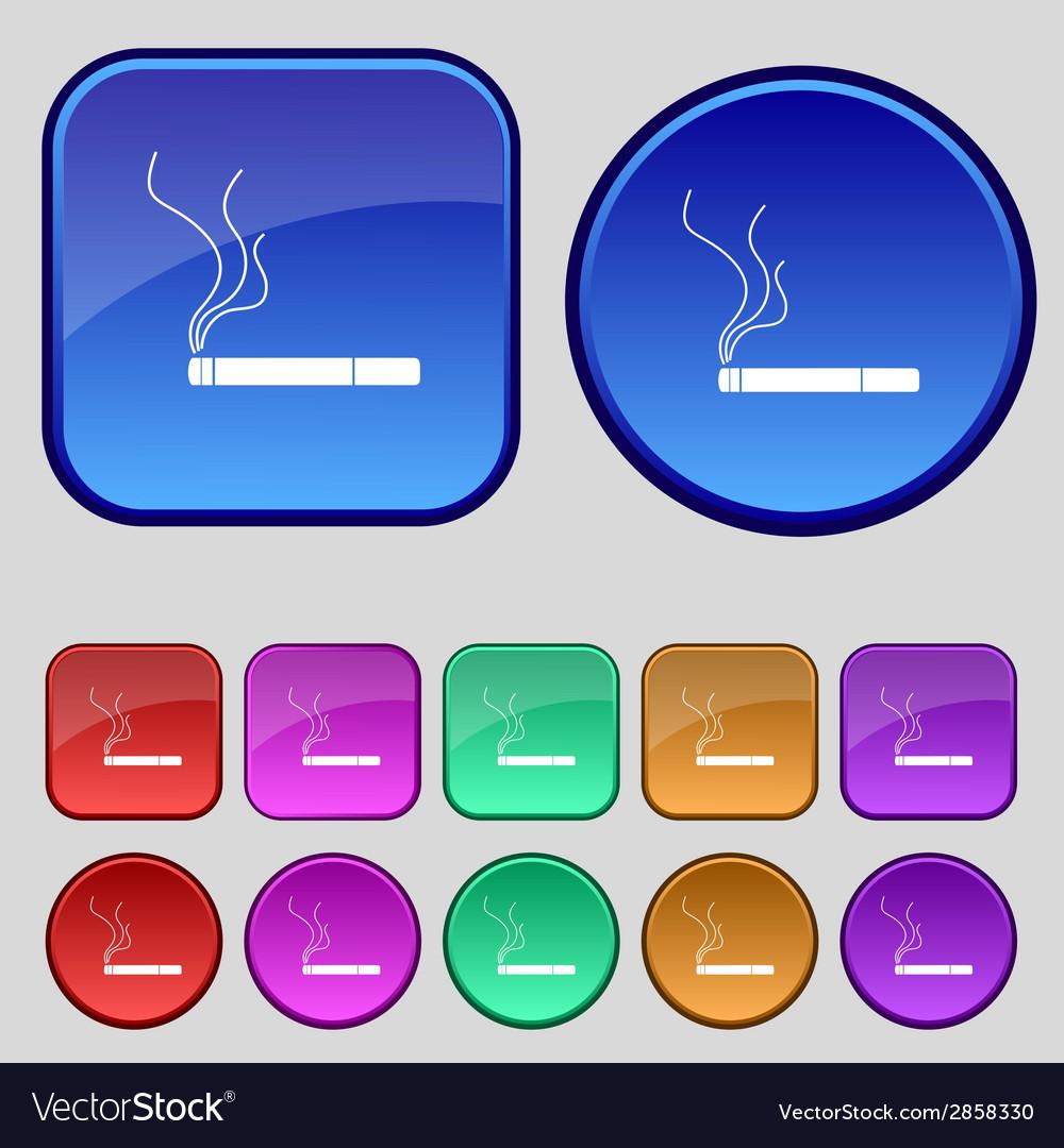Smoking sign icon cigarette symbol set colourful vector   Price: 1 Credit (USD $1)