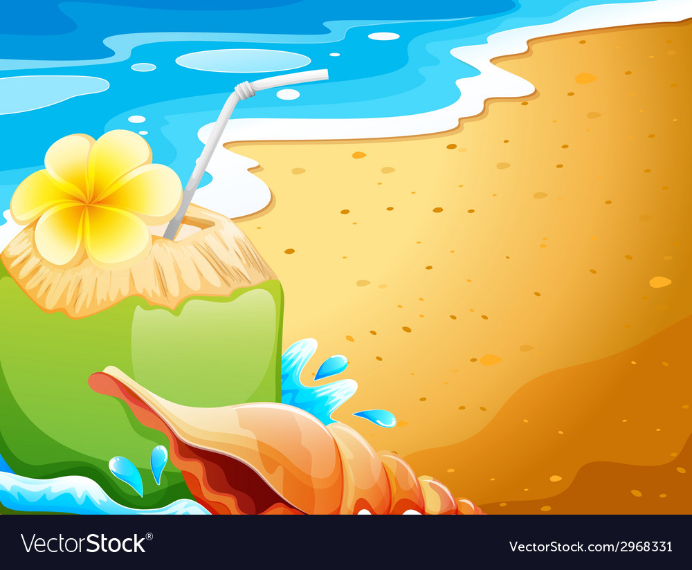 A refreshing drink at the beach vector | Price: 1 Credit (USD $1)