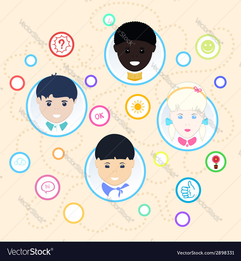 Children of different nationalities vector | Price: 1 Credit (USD $1)