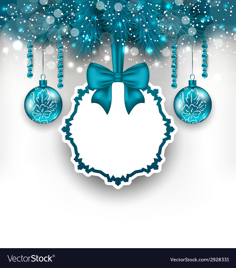 Christmas gift card with glass balls vector   Price: 1 Credit (USD $1)
