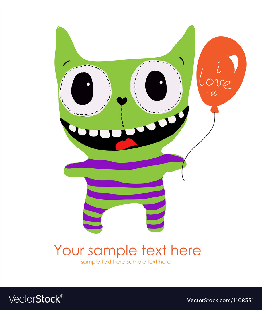 Cute monster card vector | Price: 1 Credit (USD $1)