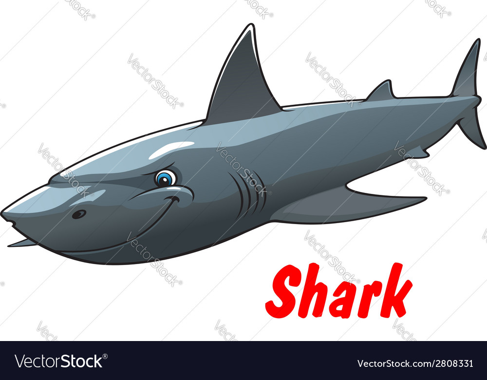 Dangerous cartoon shark character vector | Price: 1 Credit (USD $1)