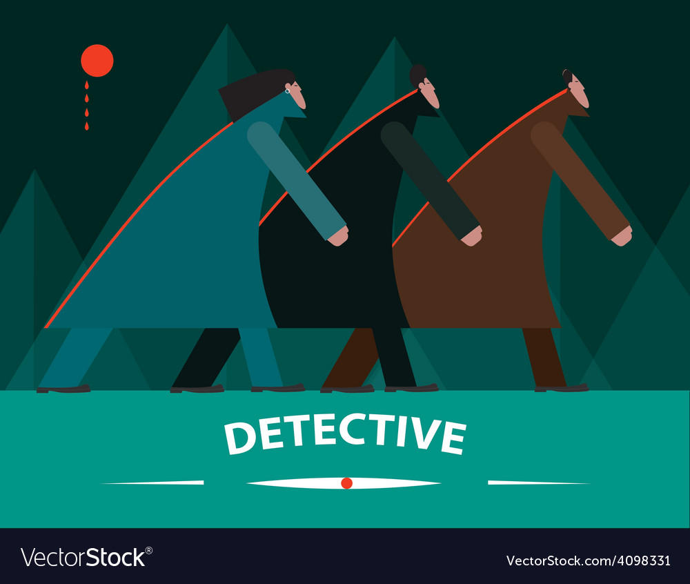 Detectives investigating at night vector | Price: 1 Credit (USD $1)