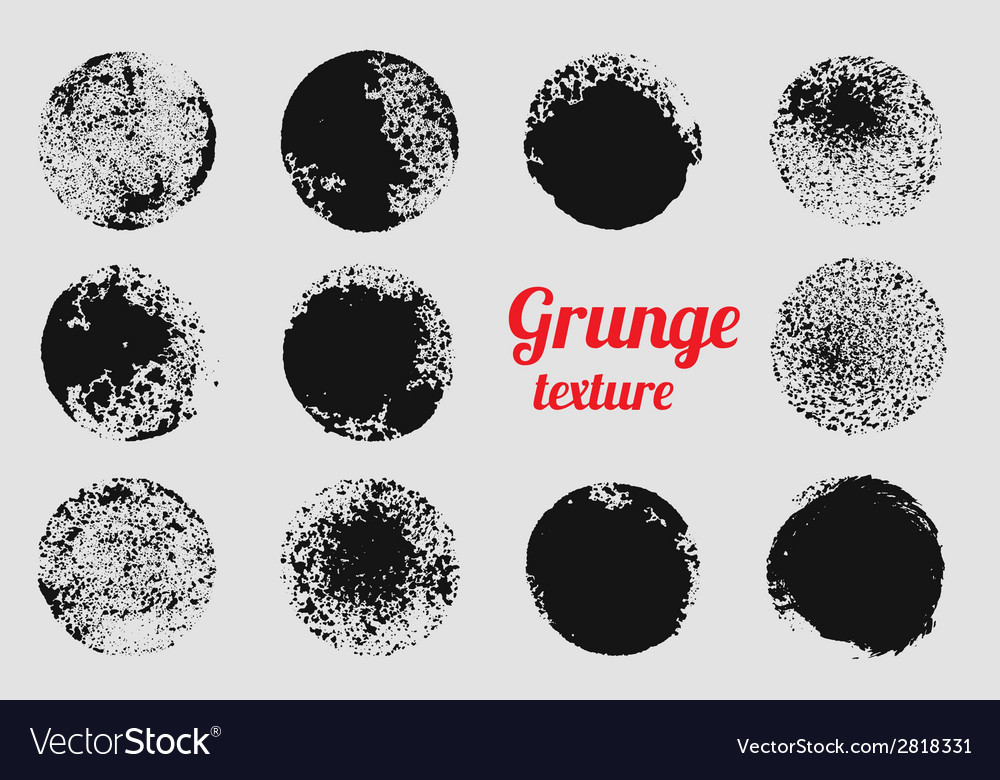 Grunge circle element set stamp stain texture vector