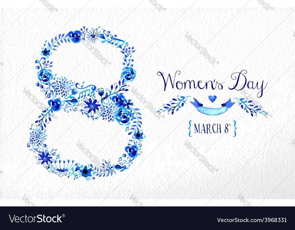 Happy women day vintage flower card vector | Price: 1 Credit (USD $1)