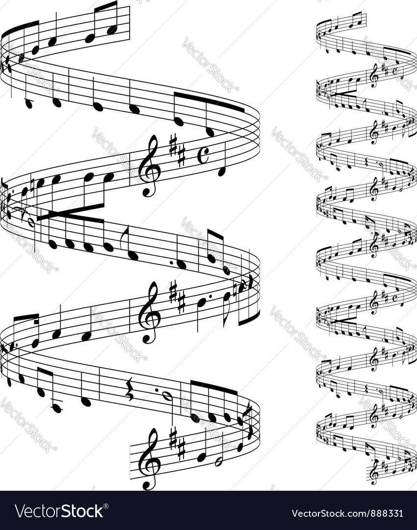 Musical notes staff vector | Price: 1 Credit (USD $1)