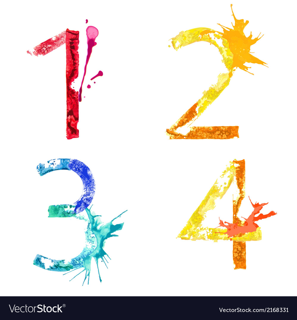 Paint splash font 1234 vector | Price: 1 Credit (USD $1)
