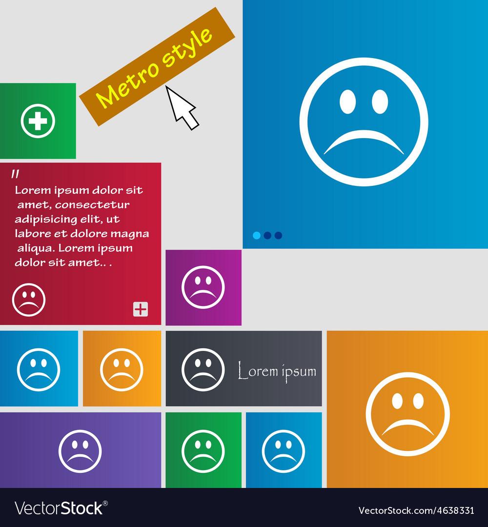 Sad face sadness depression icon sign metro style vector | Price: 1 Credit (USD $1)