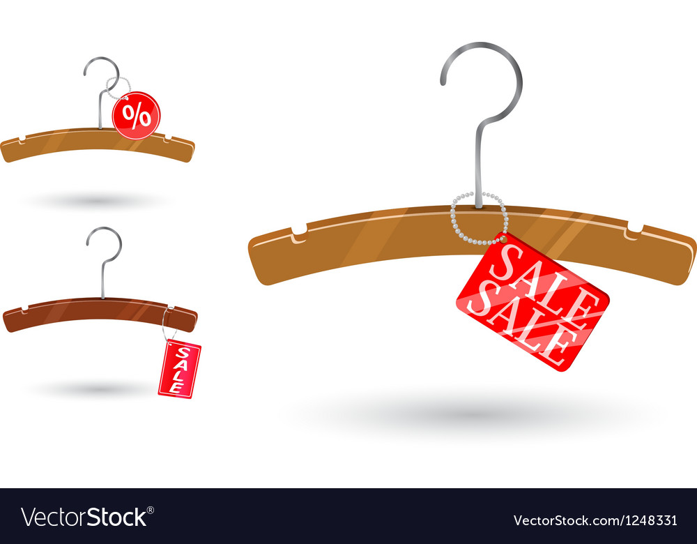 Sale tag attached to clothes hanger vector | Price: 1 Credit (USD $1)
