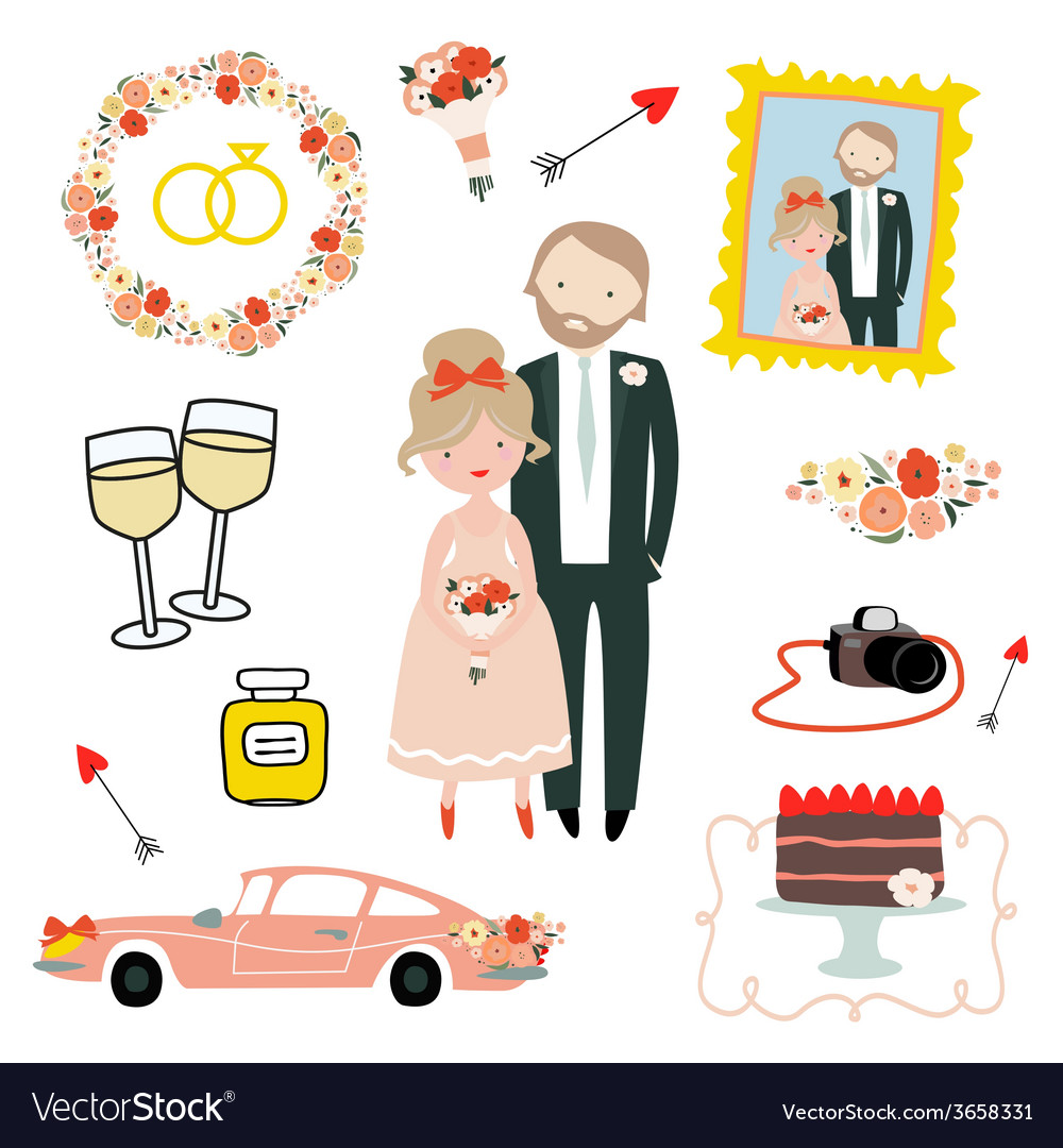 Set with newlyweds vector   Price: 1 Credit (USD $1)