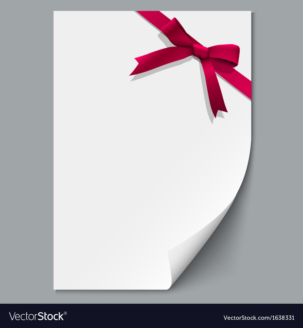 Sheet paper and red ribbon with gift bow vector | Price: 1 Credit (USD $1)