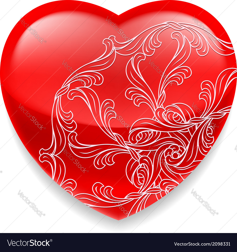 Shiny red heart with decor vector | Price: 1 Credit (USD $1)
