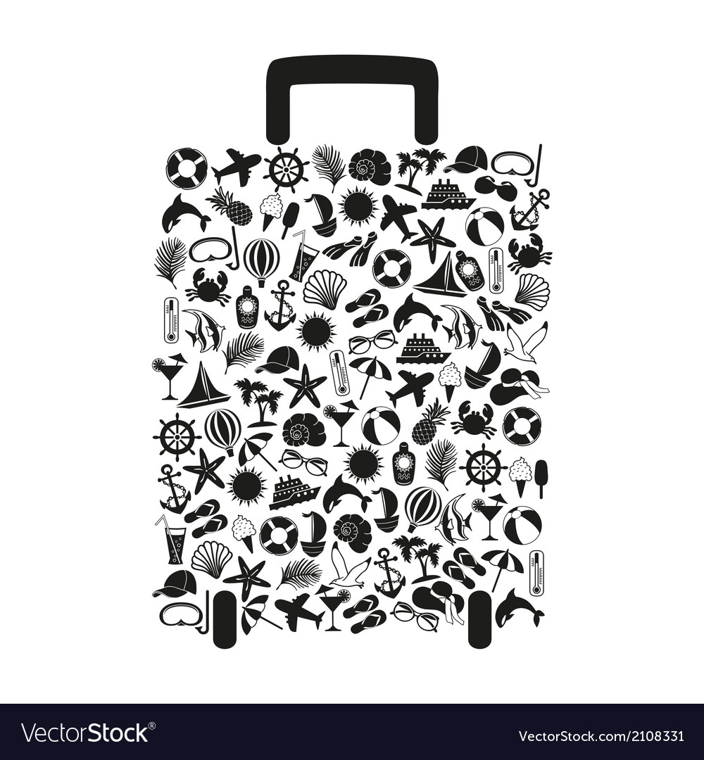 Travel suitcase of many elements vector | Price: 1 Credit (USD $1)
