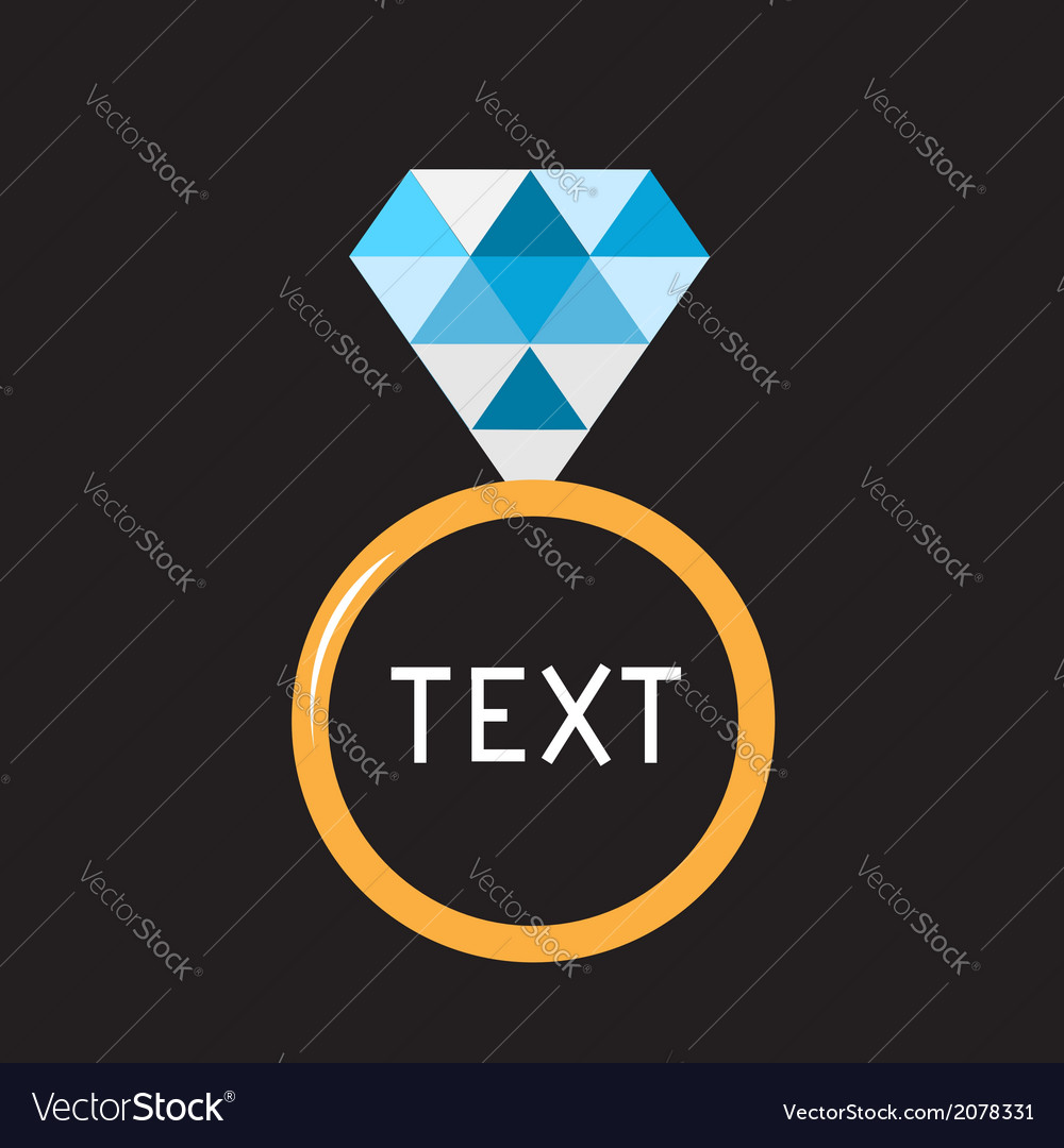 Wedding ring with blue diamond card vector | Price: 1 Credit (USD $1)