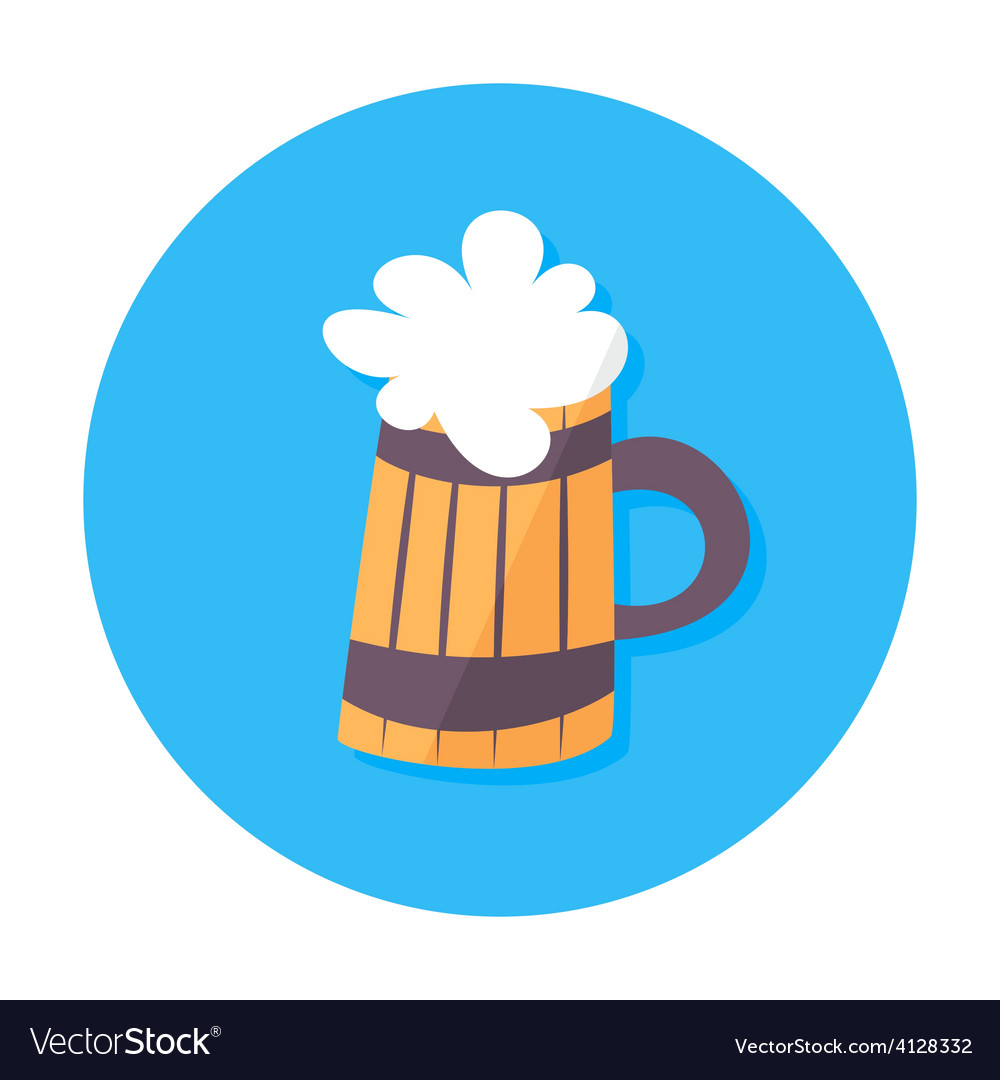 Beer mug flat stylized circle icon vector | Price: 1 Credit (USD $1)