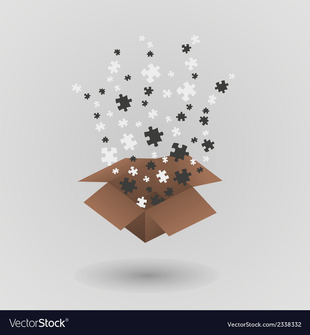 Brown paper box and puzzle pieces vector | Price: 1 Credit (USD $1)