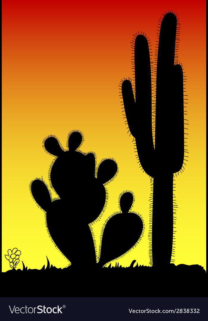 Cactus prickly black silhouette vector | Price: 1 Credit (USD $1)
