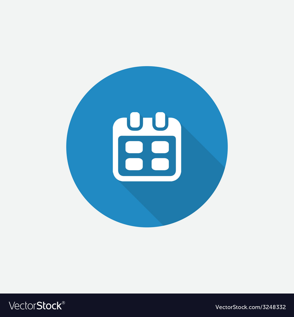 Calendar flat blue simple icon with long shadow vector | Price: 1 Credit (USD $1)