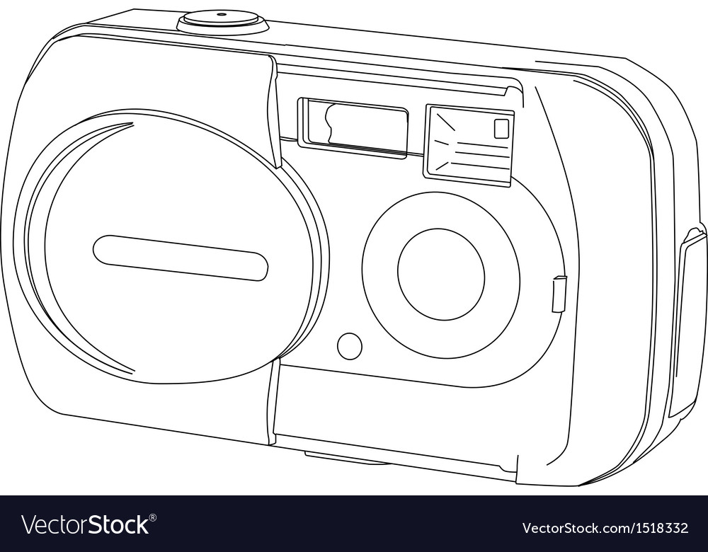 Camera line drawing vector | Price: 1 Credit (USD $1)