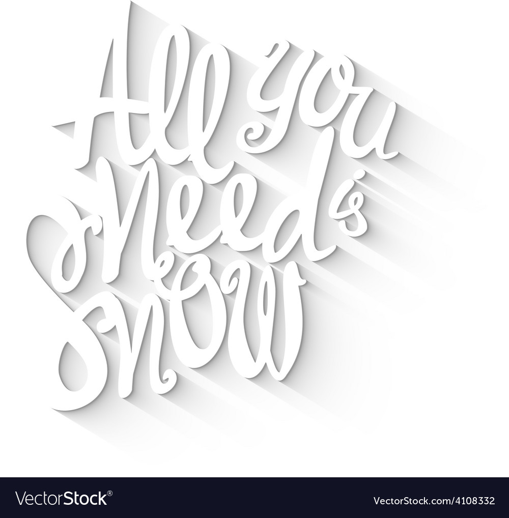 Doodle lettering symbol of snow and winter vector | Price: 1 Credit (USD $1)
