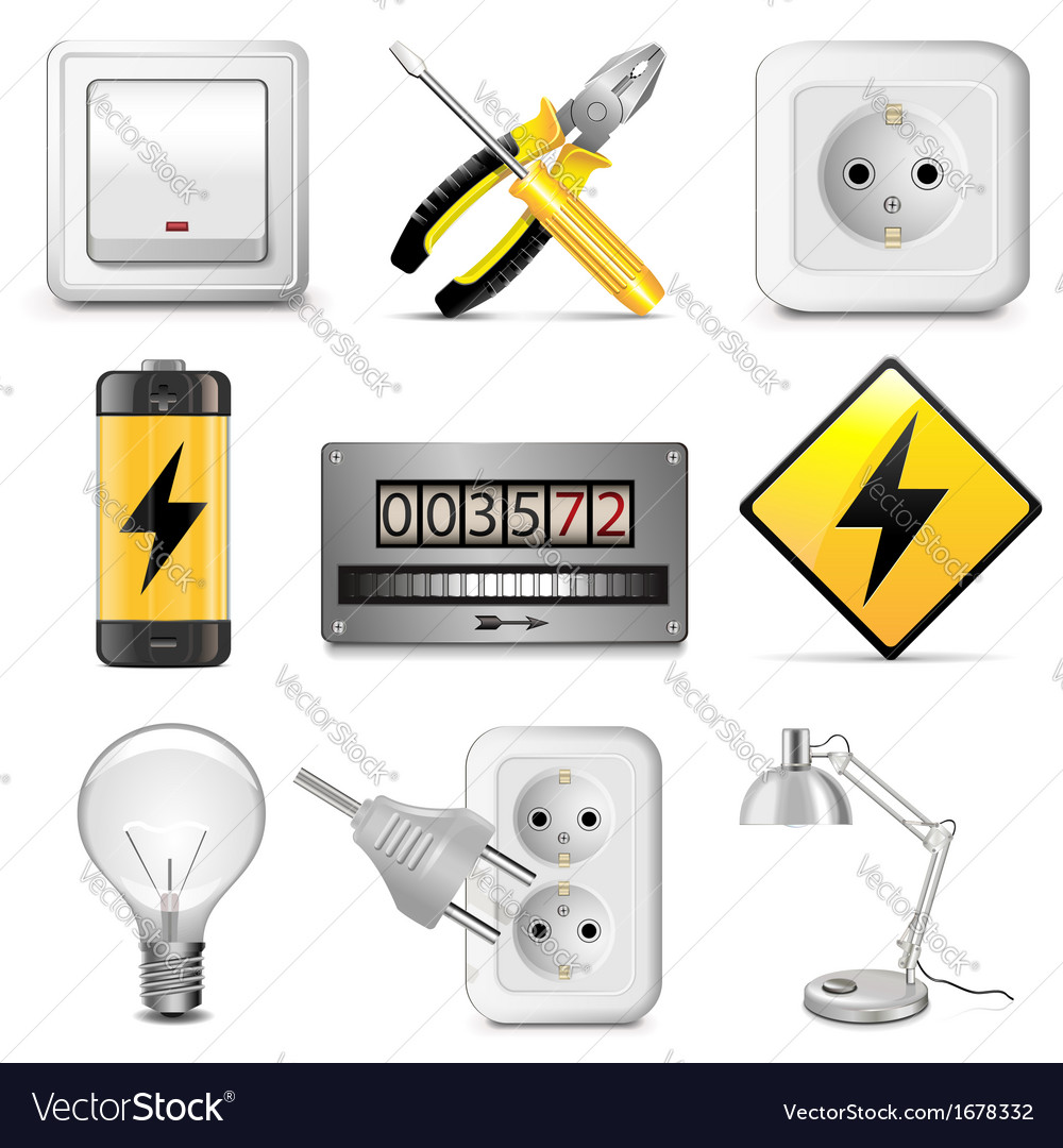 Electrical icons vector | Price: 1 Credit (USD $1)