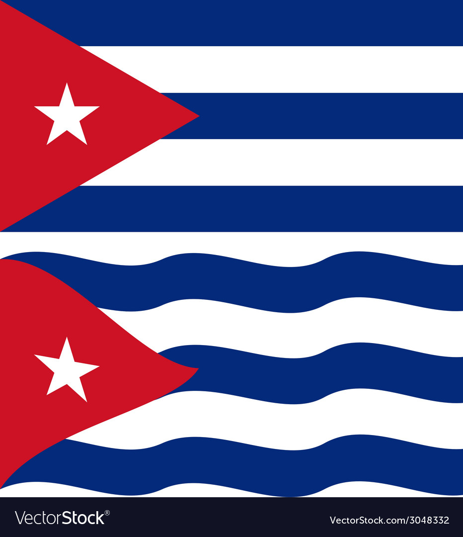 Flat and waving cuban flag vector | Price: 1 Credit (USD $1)
