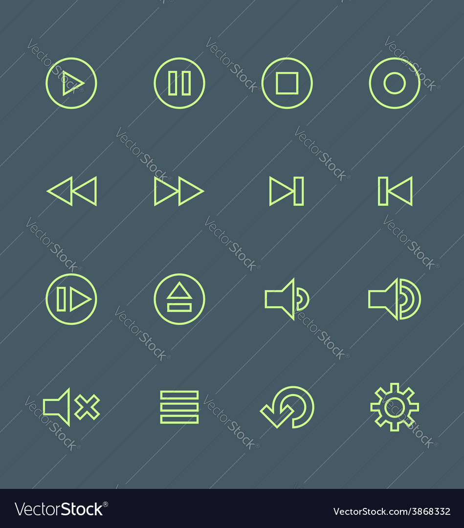 Green outline various media player icons set vector | Price: 1 Credit (USD $1)