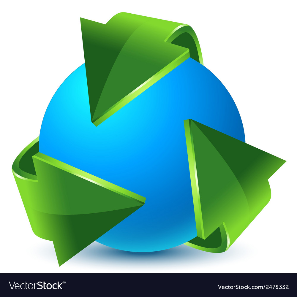 Green recycling arrows and blue earth vector | Price: 1 Credit (USD $1)