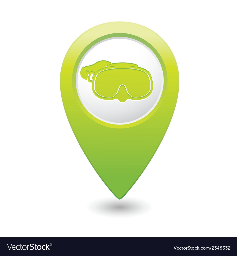 Mask symbol on green map pointer vector | Price: 1 Credit (USD $1)