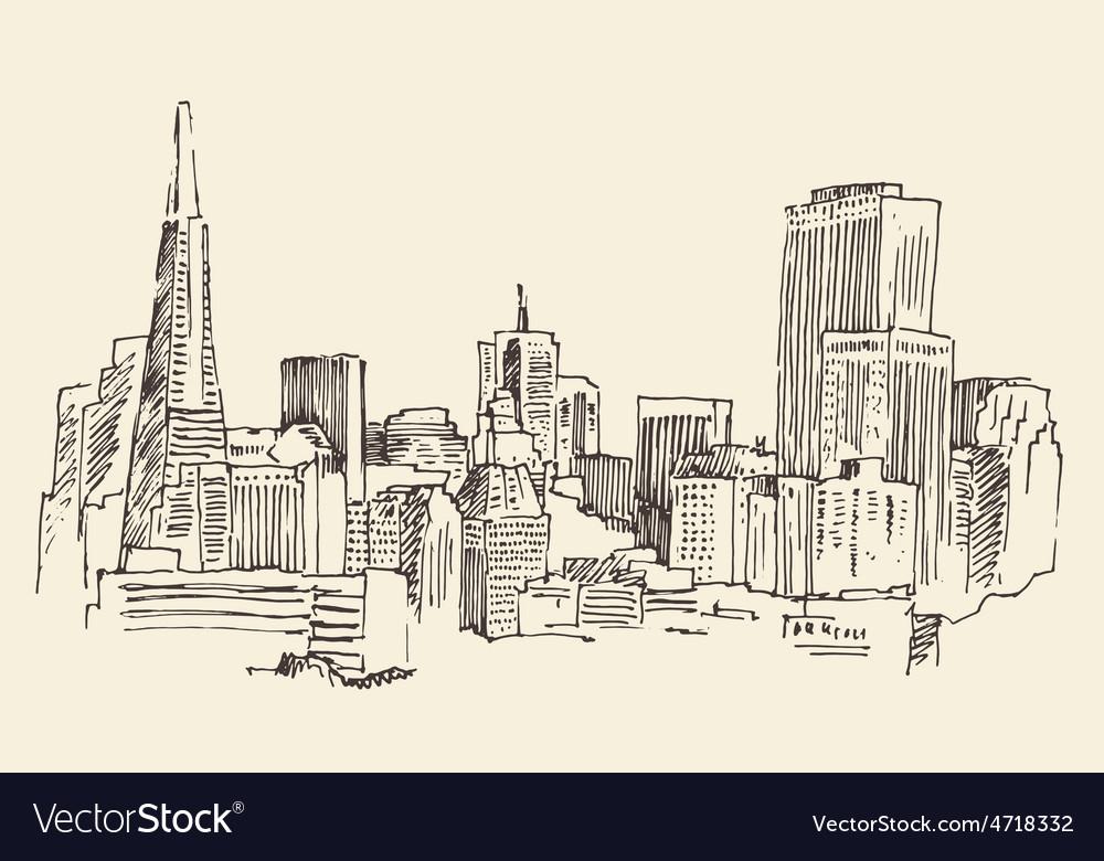 San francisco big city architecture vintage vector | Price: 1 Credit (USD $1)