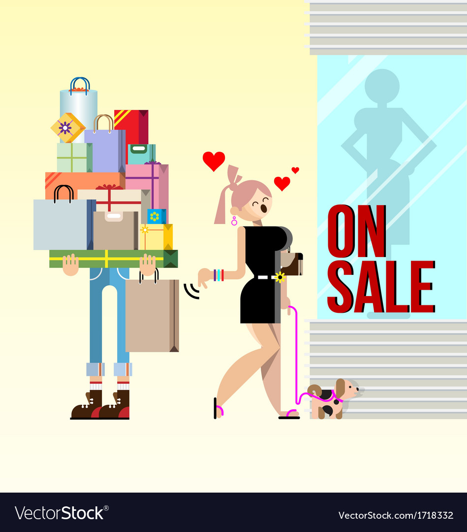 Shopping woman and boyfriend vector | Price: 1 Credit (USD $1)