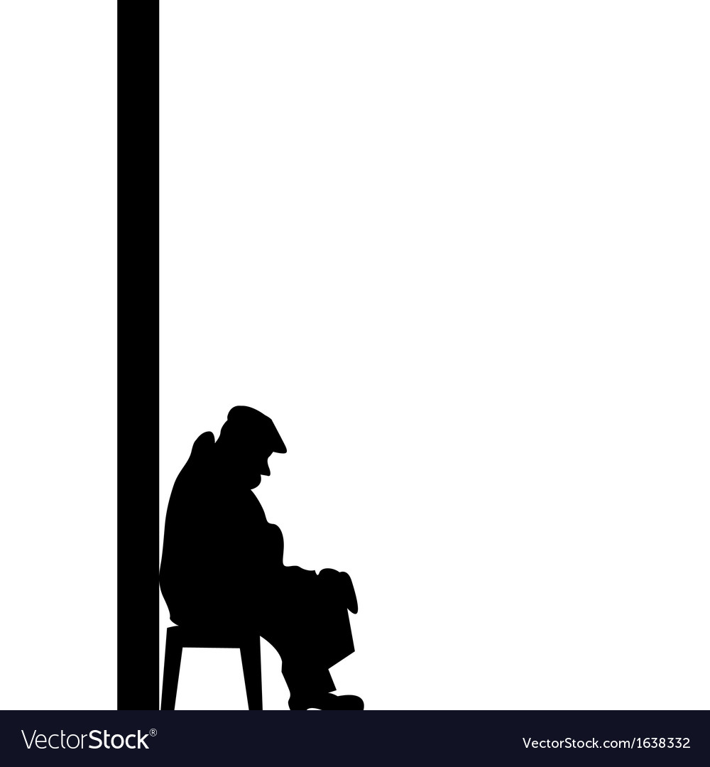 Silhouette of old man vector | Price: 1 Credit (USD $1)