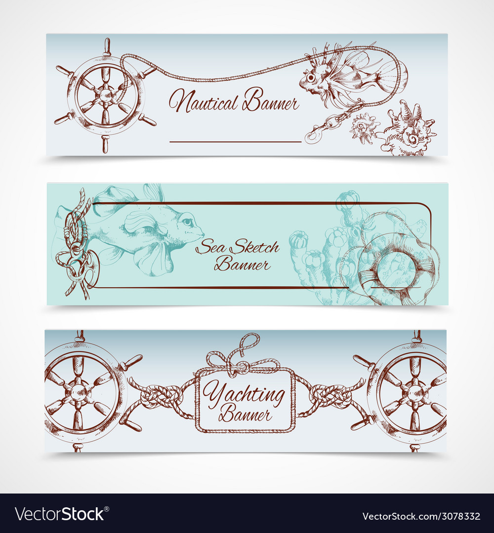 Yachting banners set vector | Price: 1 Credit (USD $1)