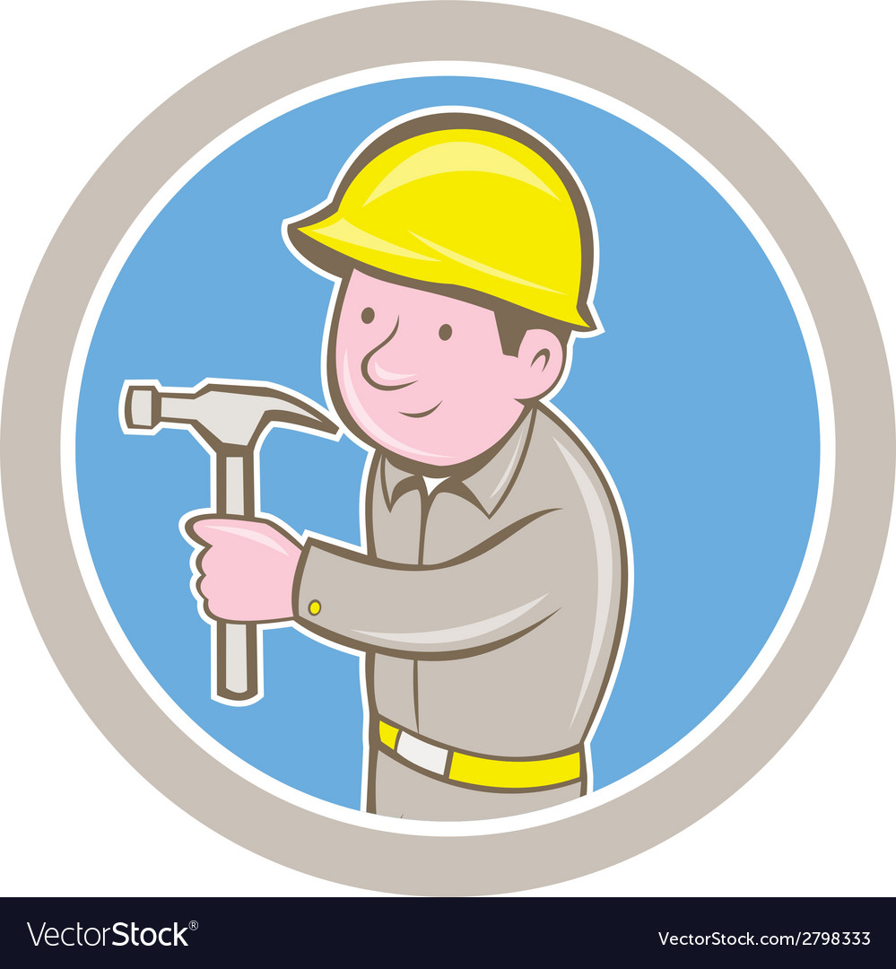 Carpenter builder hammer circle cartoon vector | Price: 1 Credit (USD $1)