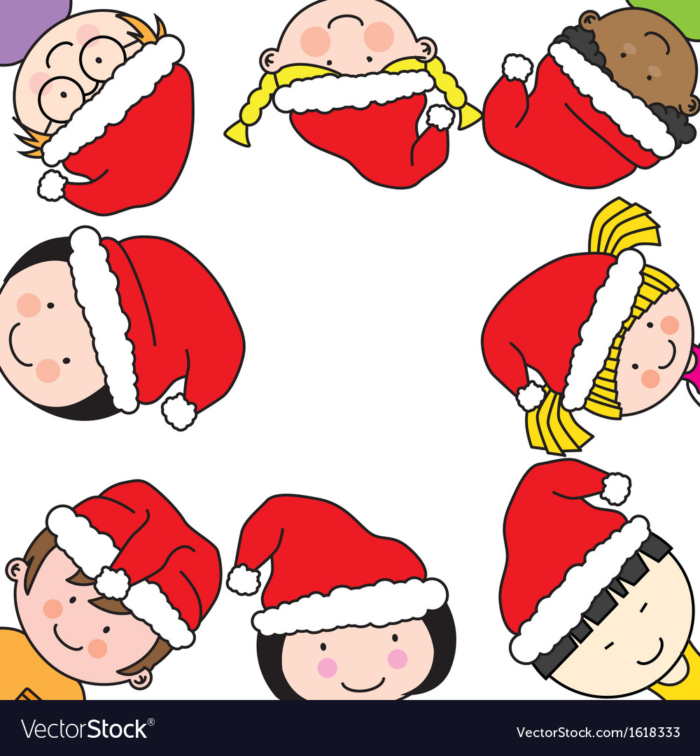 Children card with santa claus hat vector | Price: 1 Credit (USD $1)
