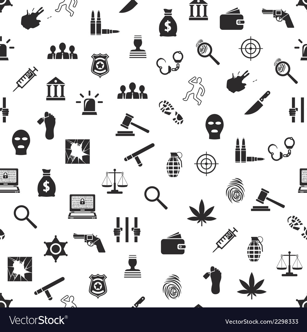 Crime and justice seamless pattern vector | Price: 1 Credit (USD $1)