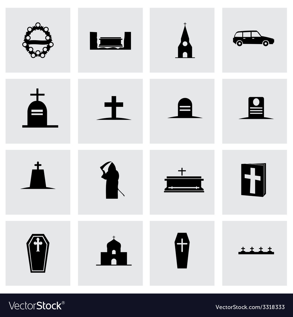 Funeral icon set vector | Price: 1 Credit (USD $1)