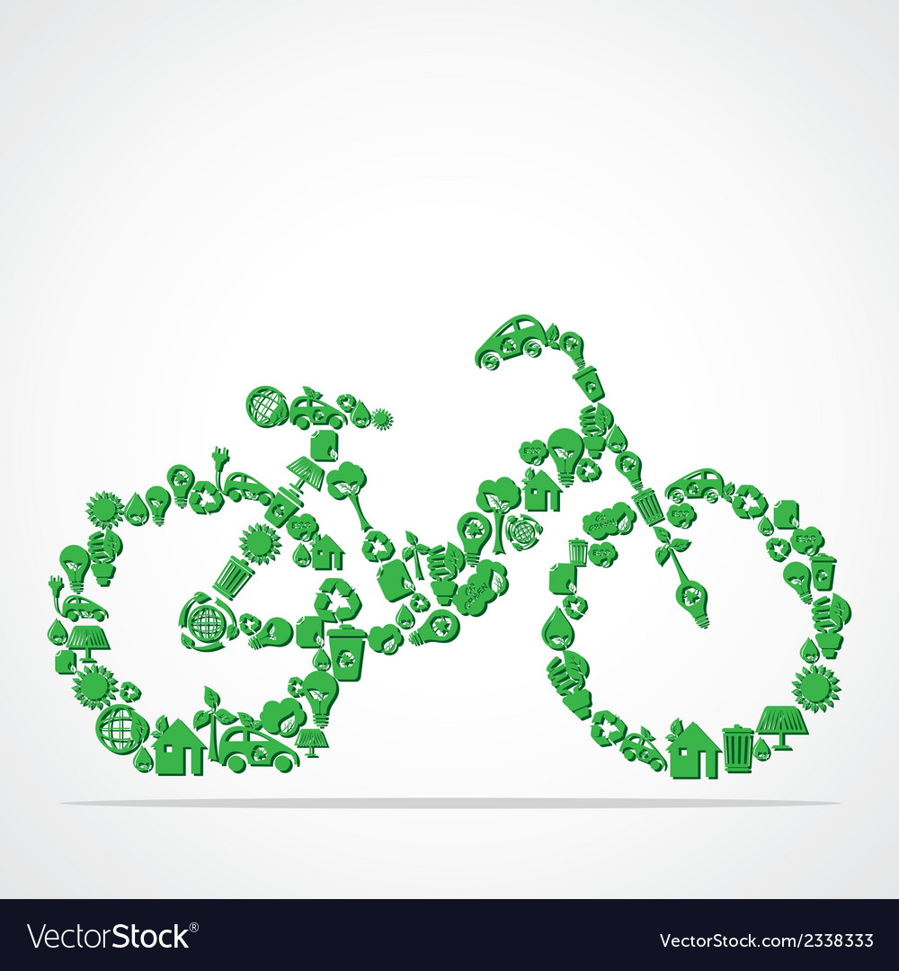 Green eco iconic bicycle vector | Price: 1 Credit (USD $1)