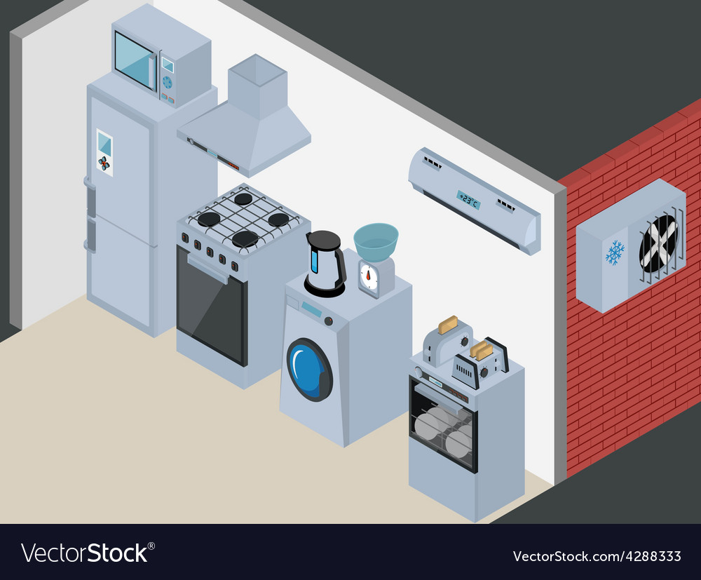 Household icons appliances isometric kitchen vector
