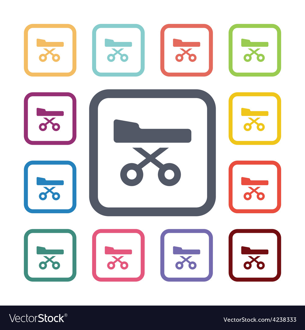 Medical bed flat icons set vector | Price: 1 Credit (USD $1)