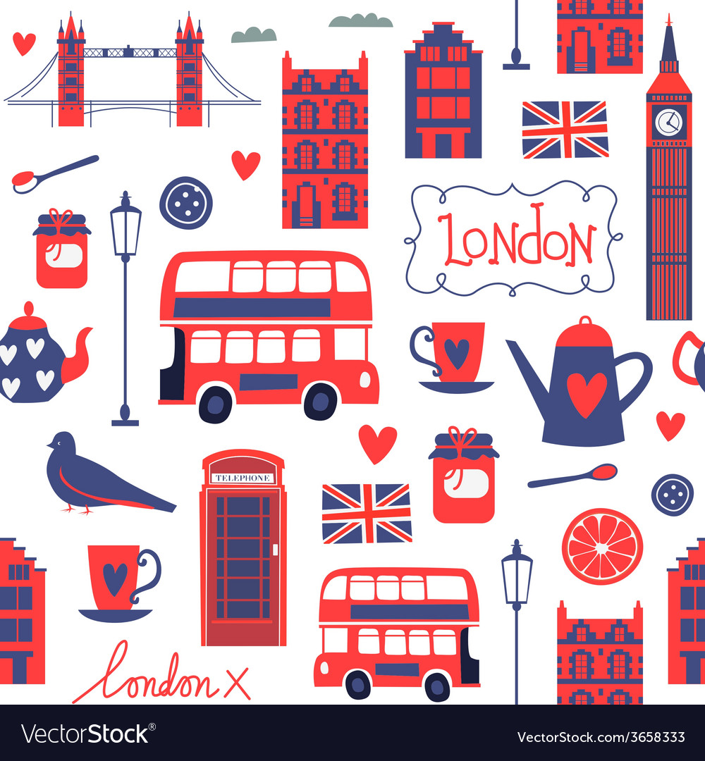 Seamless pattern with london style elements vector | Price: 1 Credit (USD $1)