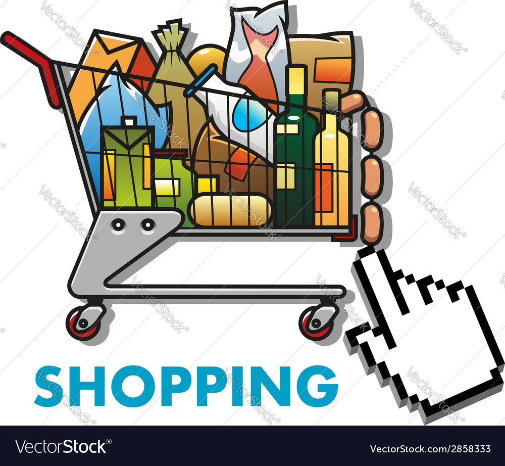 Shopping cart with groceries vector | Price: 1 Credit (USD $1)