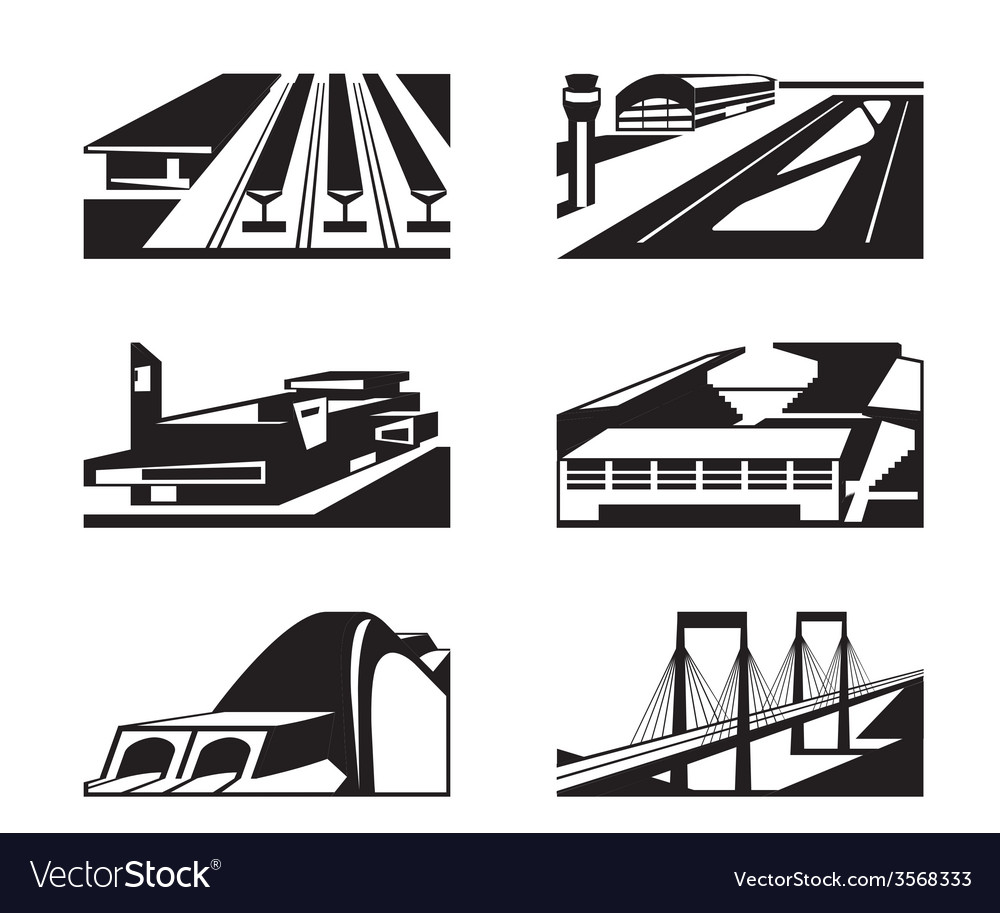 Various types of enormous buildings vector | Price: 1 Credit (USD $1)