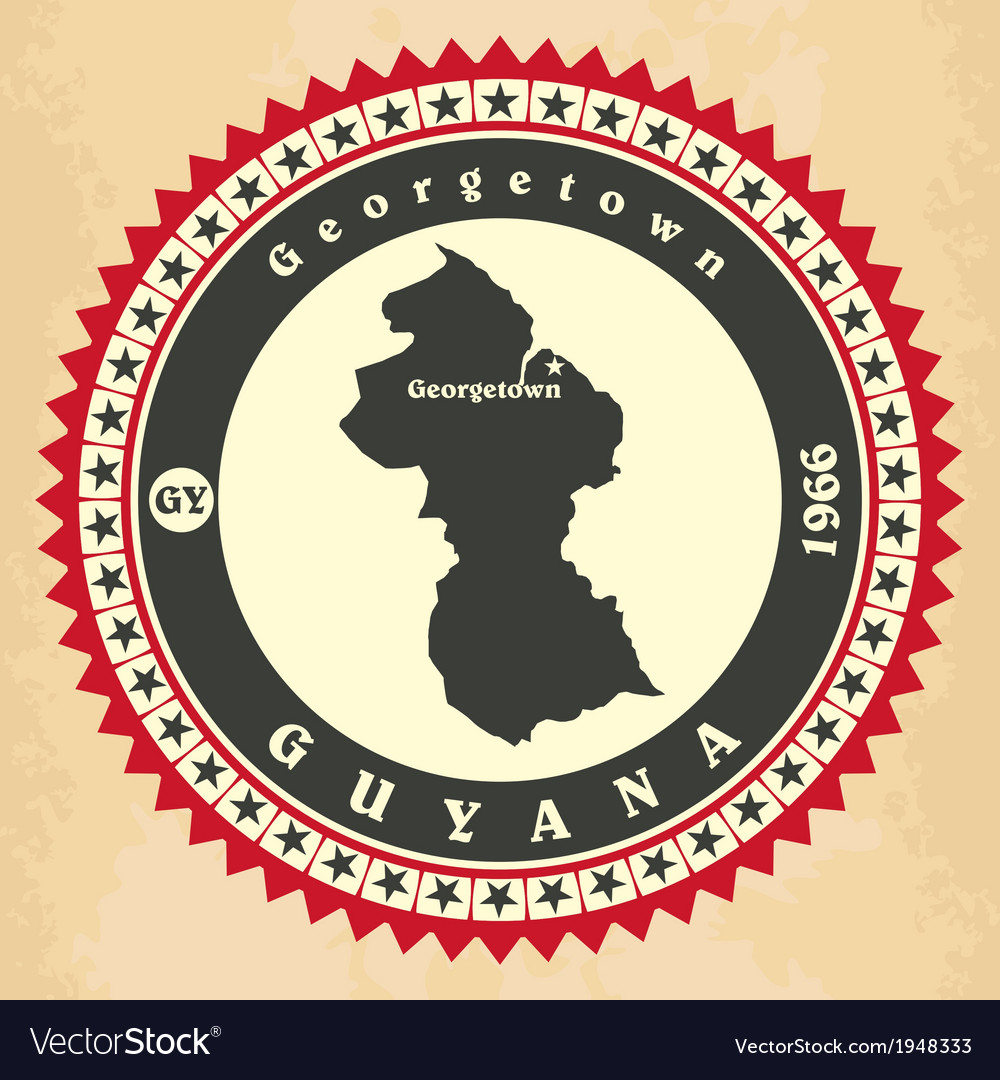 Vintage label-sticker cards of guyana vector | Price: 1 Credit (USD $1)