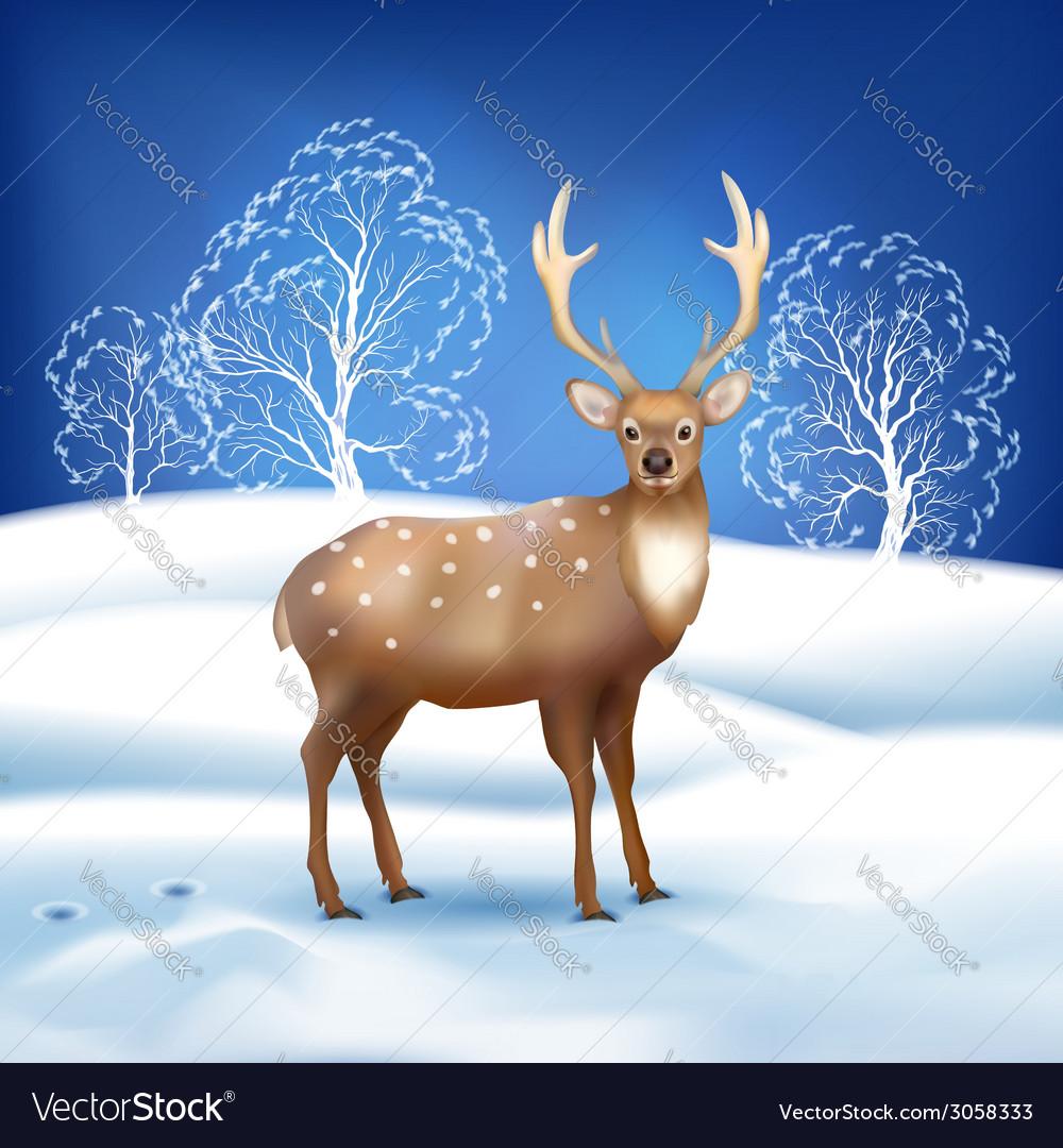 Winter landscape with deer vector | Price: 1 Credit (USD $1)
