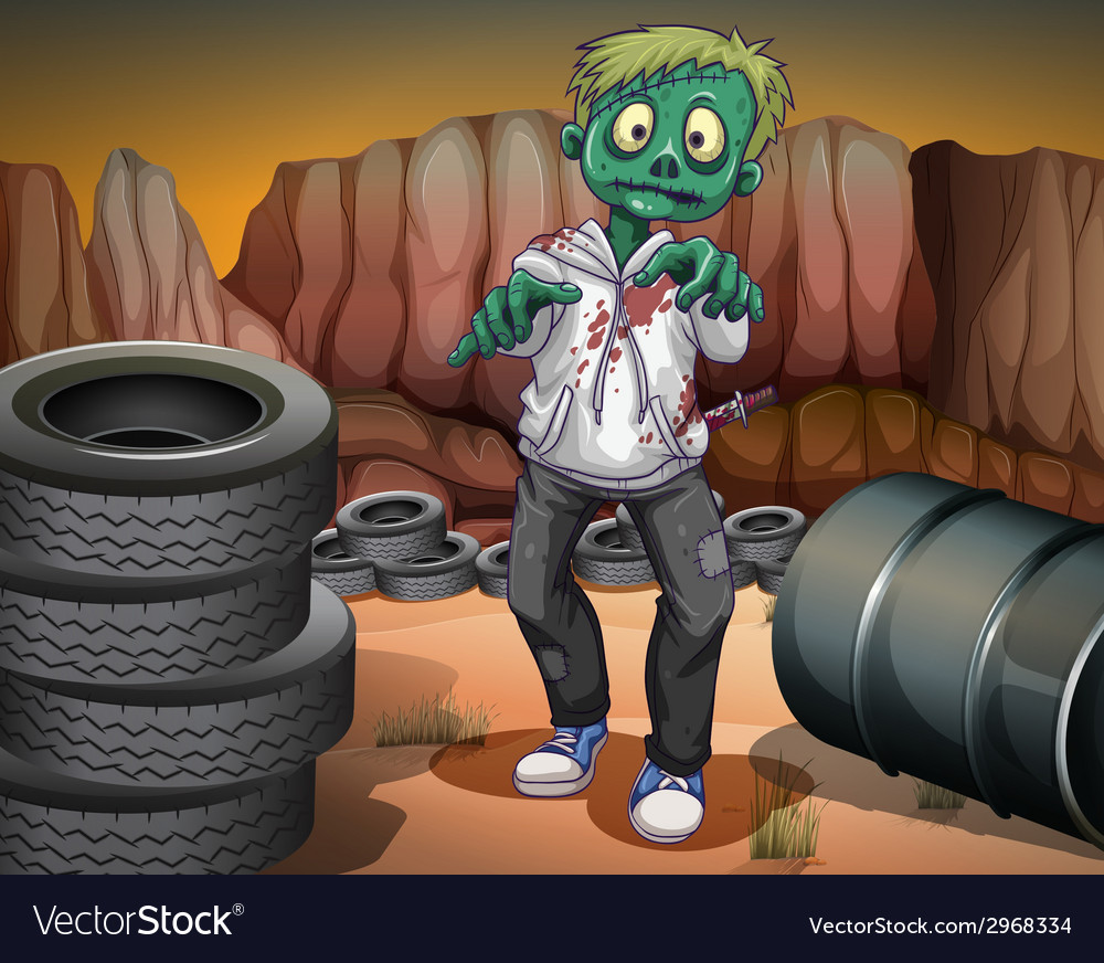 A scary zombie in the desert vector | Price: 1 Credit (USD $1)