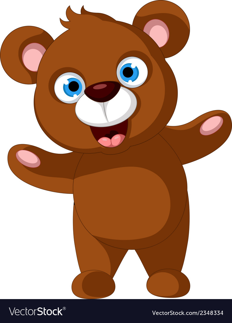 Baby brown bear cartoon posing vector | Price: 1 Credit (USD $1)